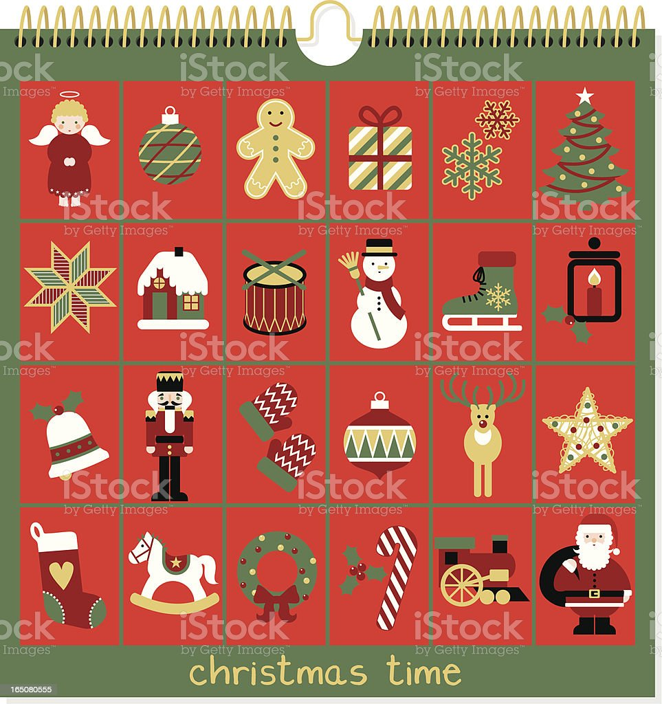 Advent calendar, Christmas time vector art illustration