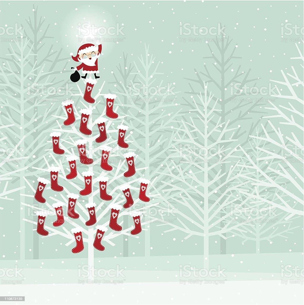 Advent calendar on a christmas tree vector art illustration