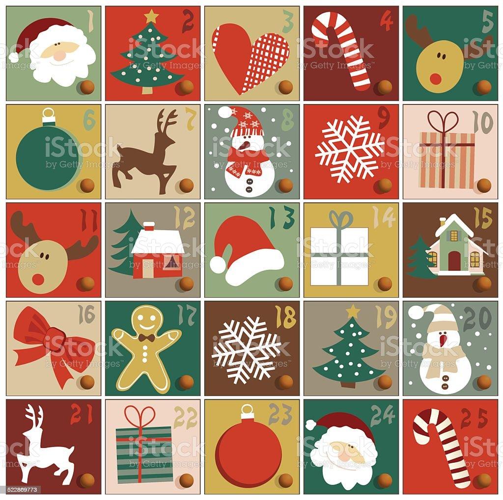 Advent calendar vector art illustration
