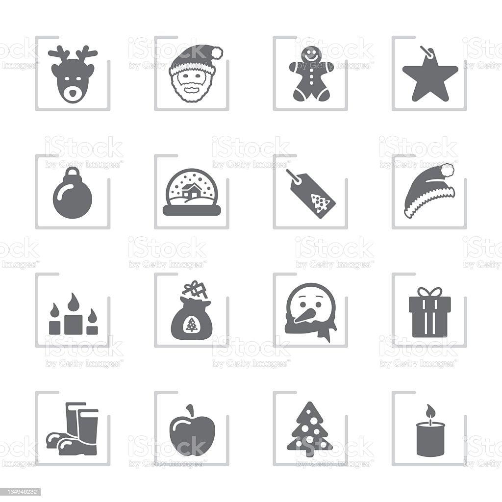 Advent & Christmas Icons | Framed Grey stock photo