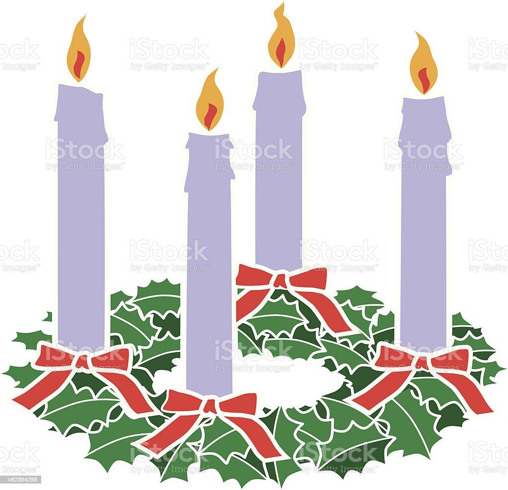 advent wreath vector art illustration