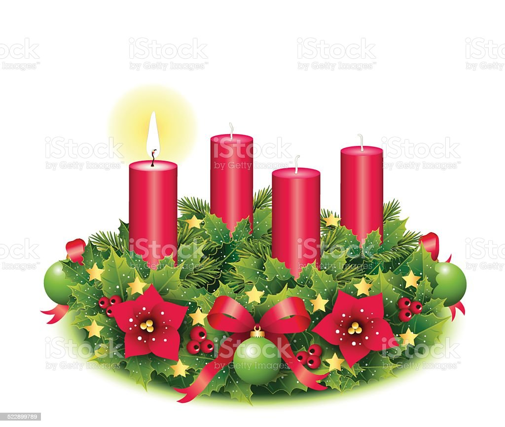 Advent wreath with one burning candle vector art illustration