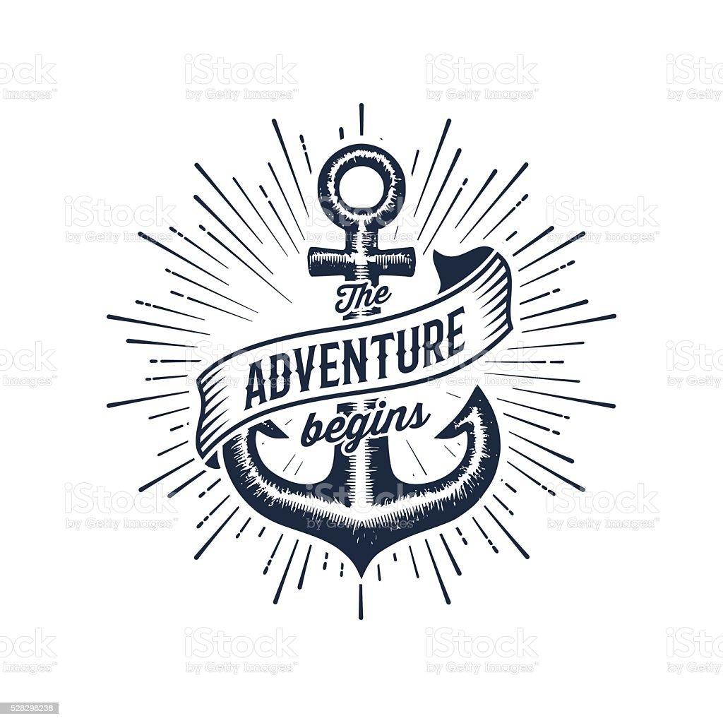 Adventure begins blue anchor vector art illustration