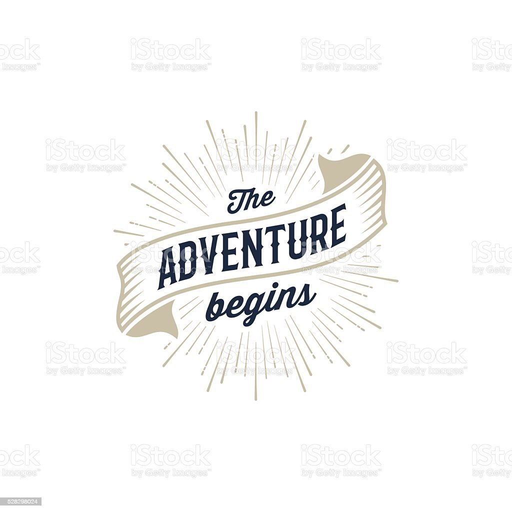 Adventure begins gold vector art illustration