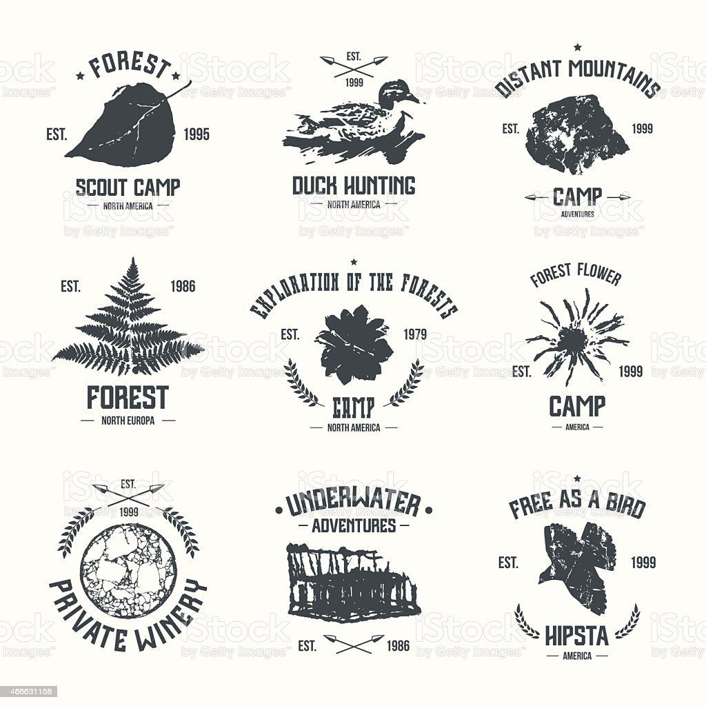 Adventure camp emblems vector art illustration