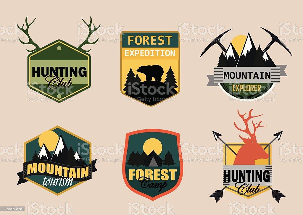 Adventure, outdoors, camping logo emblems set vector art illustration