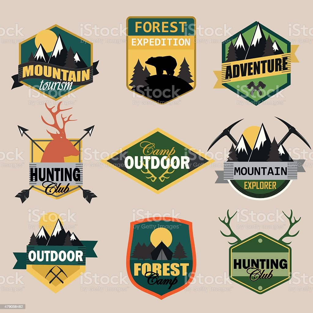 Adventure, outdoors, camping logo emblems set.Vintage badges and...
