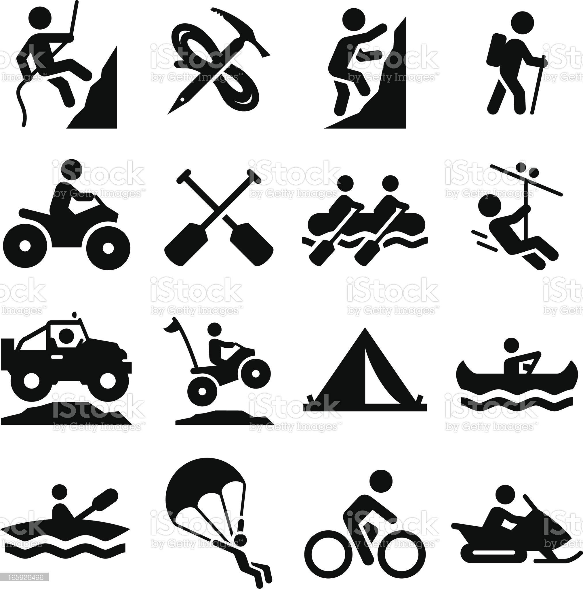 Adventure Sports Icons - Black Series royalty-free stock vector art