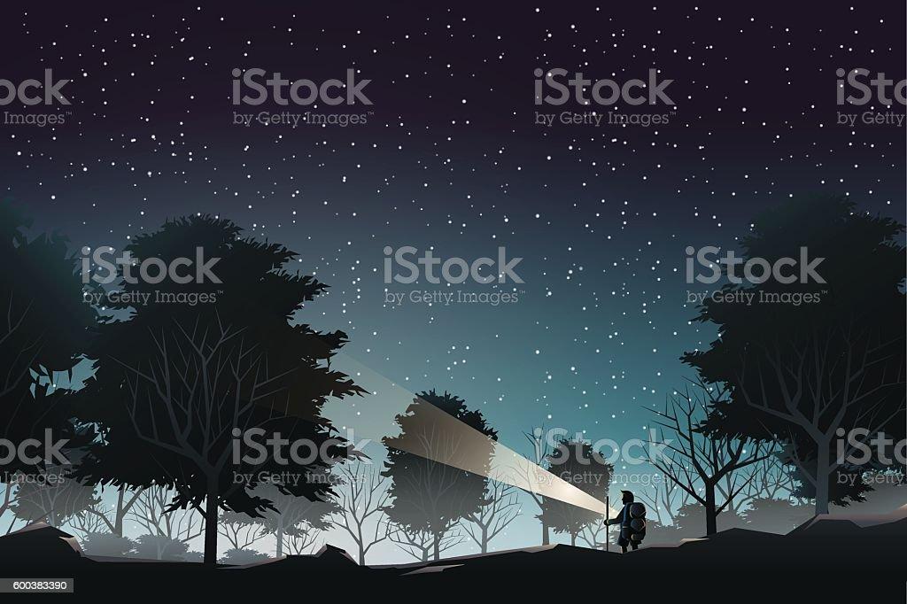 adventurer journey to deep forest when night vector art illustration