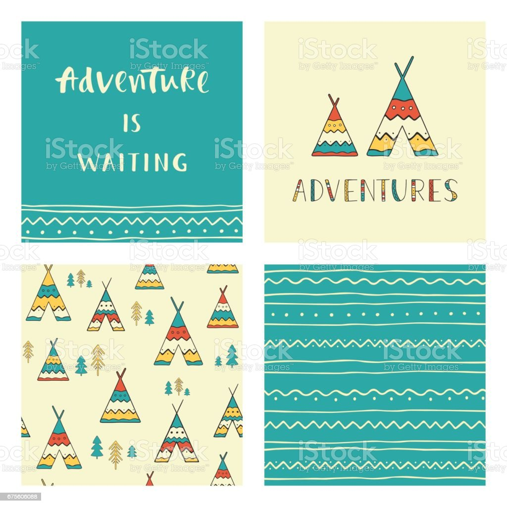 Adventures is waiting. Hand drawn lettering phrase with ornamental seamless backgrounds, wigwams and trees. Set of stylish outdoor cards. vector art illustration