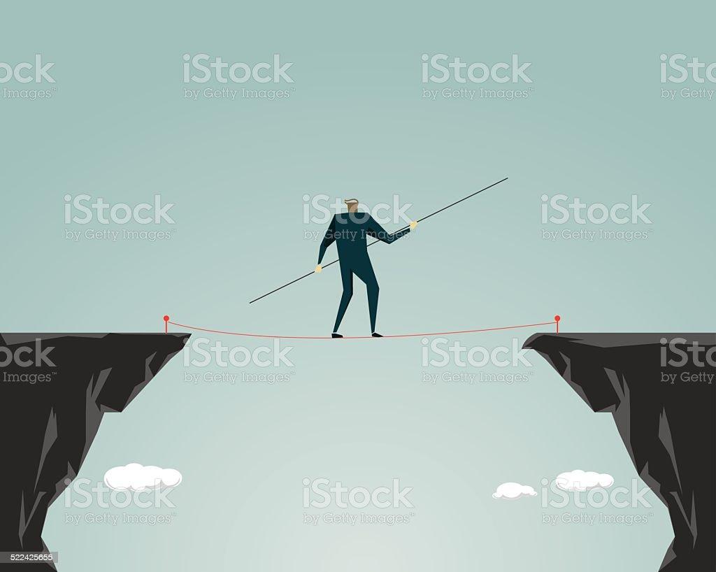 Adversity, Challenge, Tightrope vector art illustration