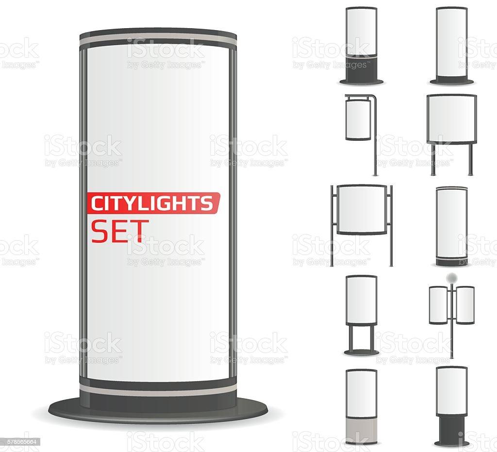 Advertise citylights set. vector art illustration