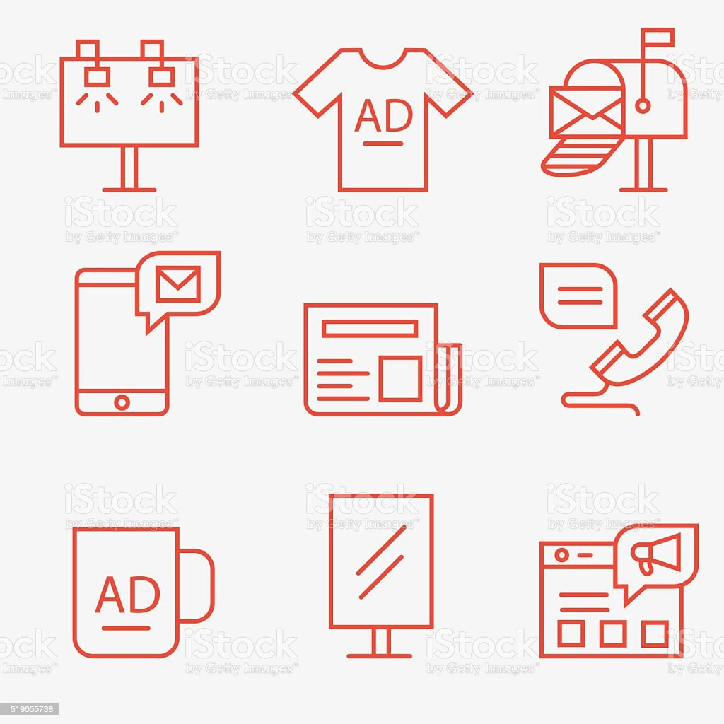 Advertisement and promotion icons vector art illustration