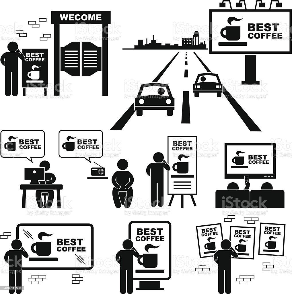 Advertisement Board Billboard Marketing Media Pictogram royalty-free stock vector art
