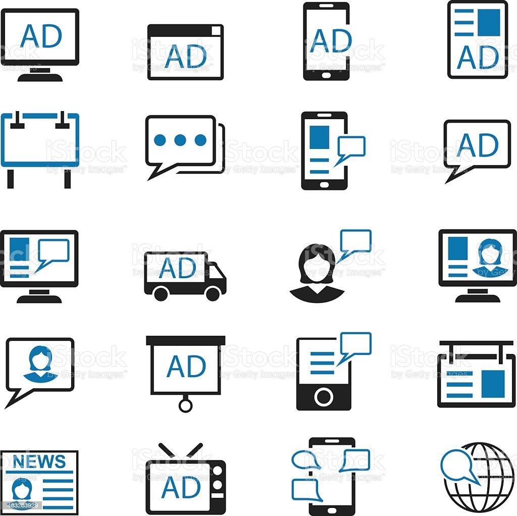Advertisement icons set vector art illustration