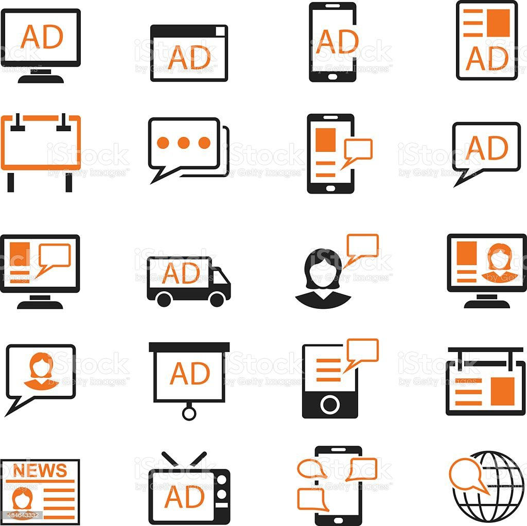 Advertisement icons set vector art illustration