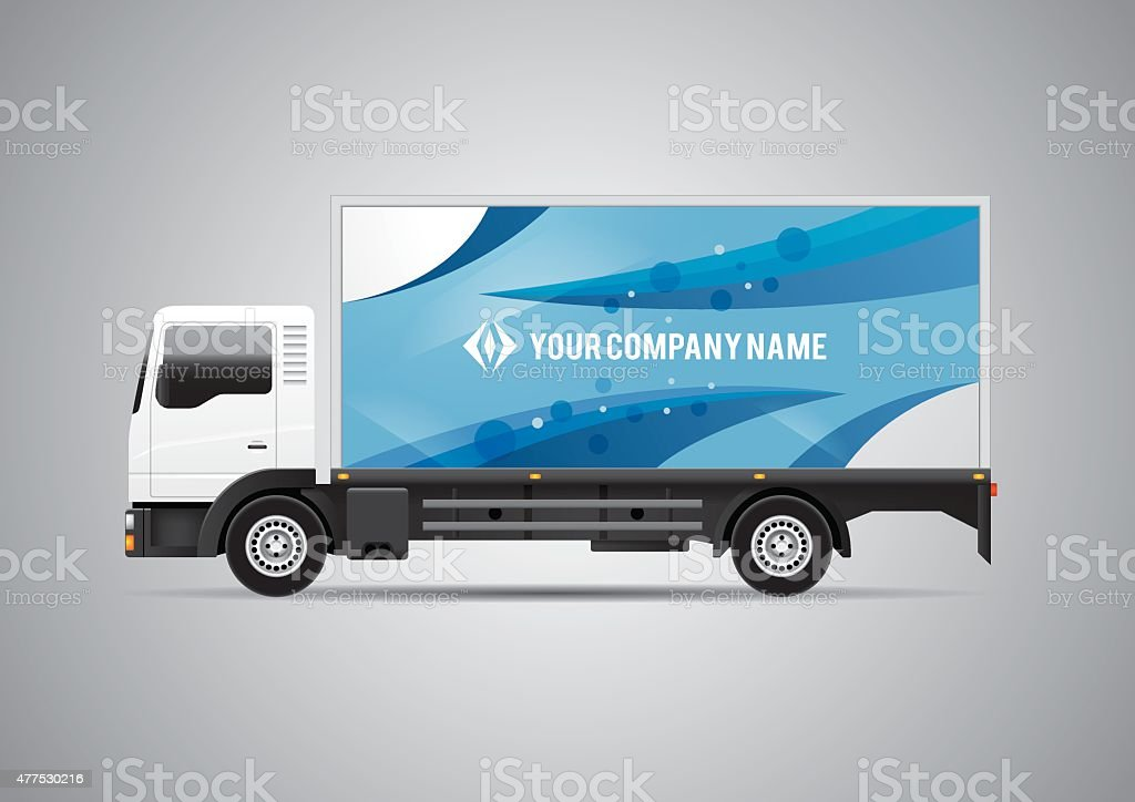 Advertisement or corporate identity design template on white truck vector art illustration