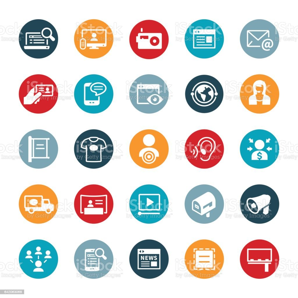 Advertising and Promotion Icons vector art illustration