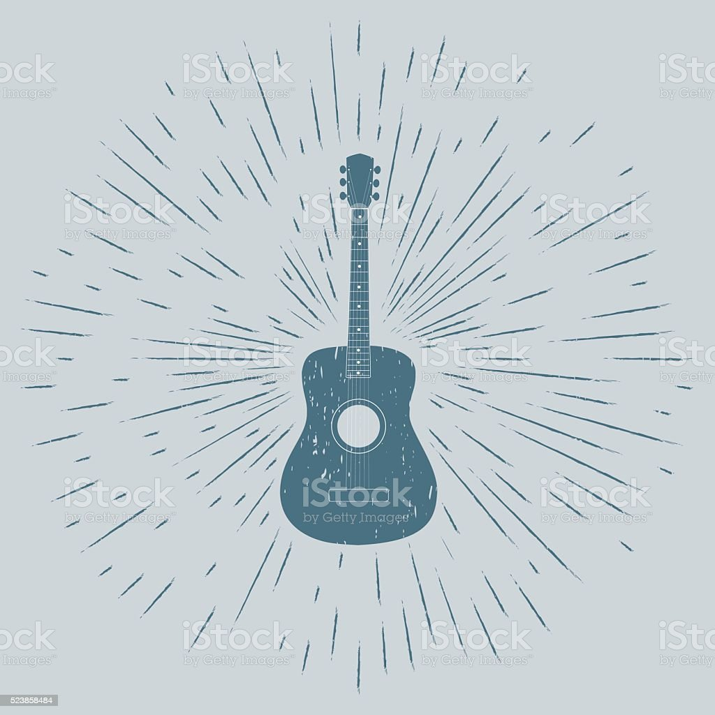 Advertising card with guitar silhouette vector art illustration