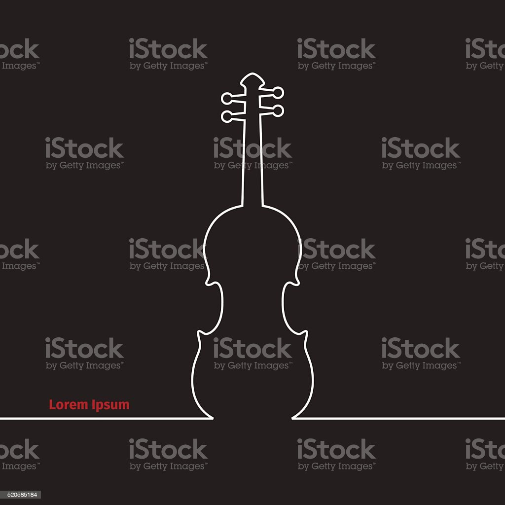 Advertising card with violin vector art illustration