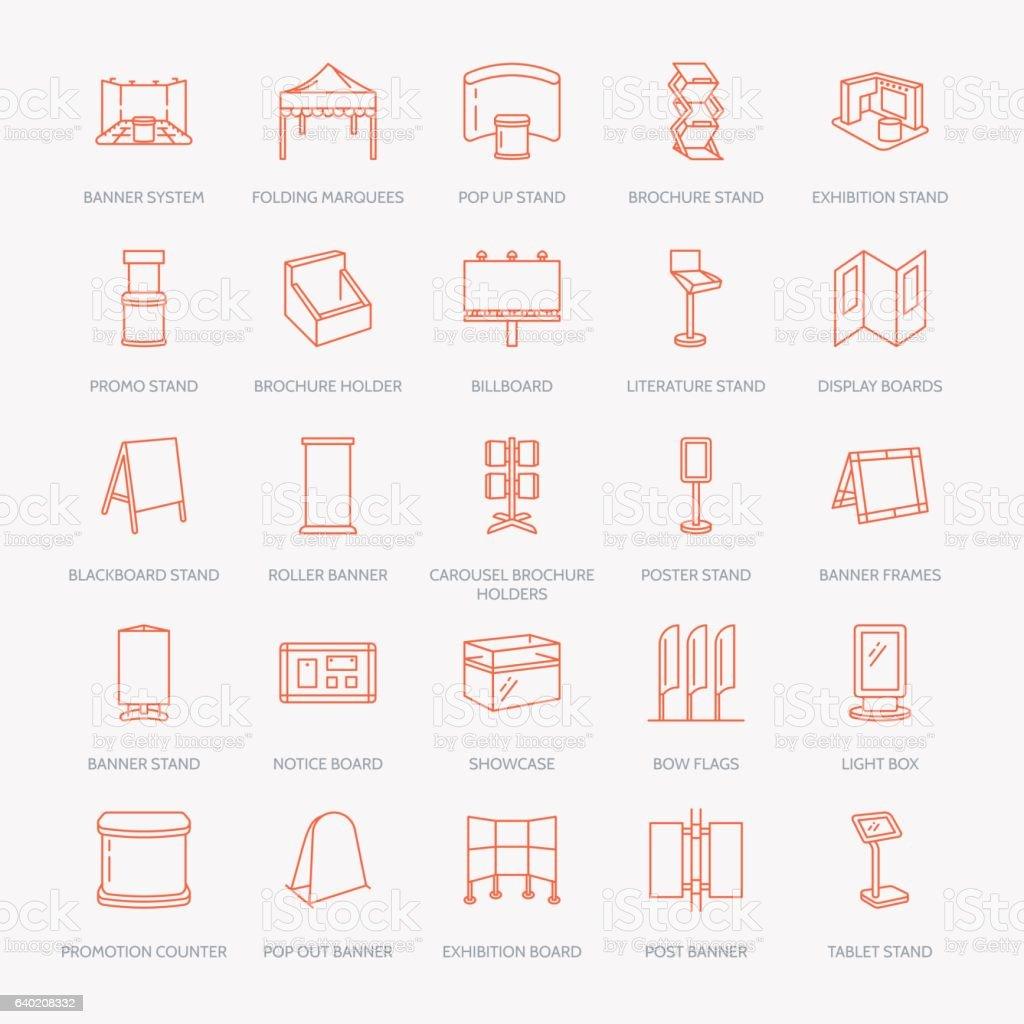 Advertising exhibition banner stands, display line icons. Brochure holders, pop vector art illustration