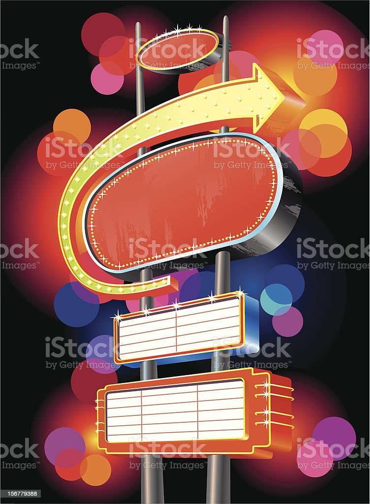 Advertising for motel sign on black royalty-free stock vector art