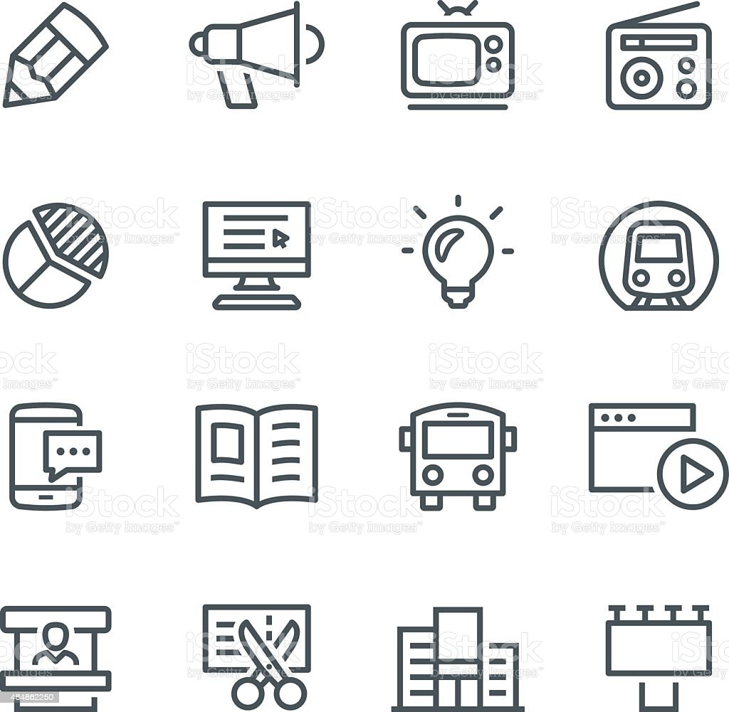 Advertising Icons vector art illustration