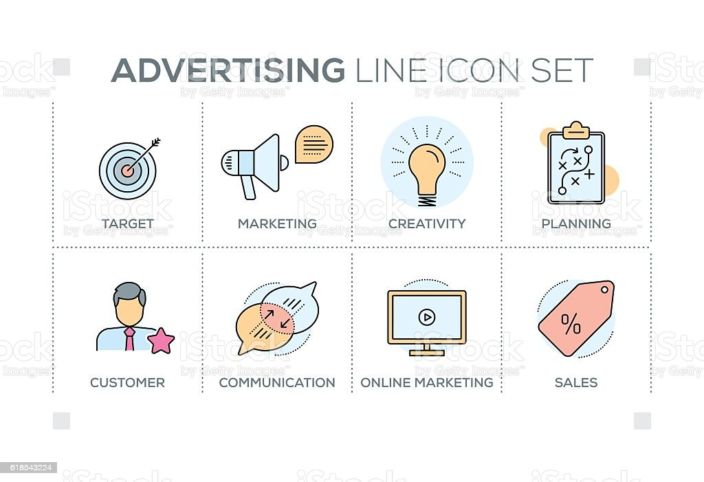 Advertising keywords with line icons vector art illustration