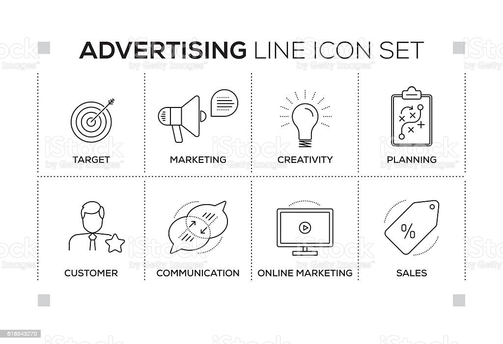 Advertising keywords with monochrome line icons vector art illustration