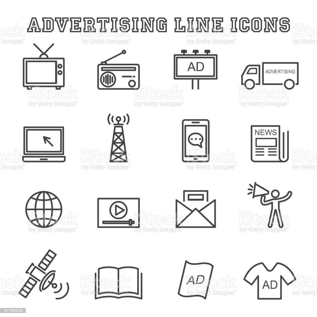 advertising line icons vector art illustration