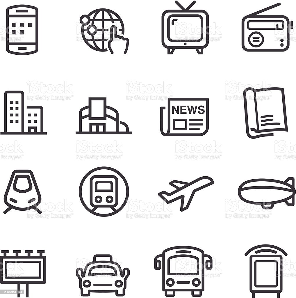 Advertising Media Icons - Line Series vector art illustration
