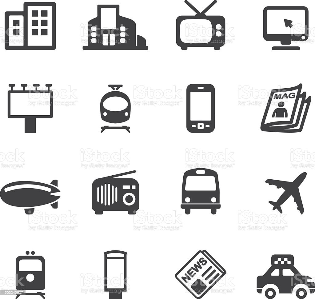 Advertising Media Silhouette icons | EPS10 vector art illustration