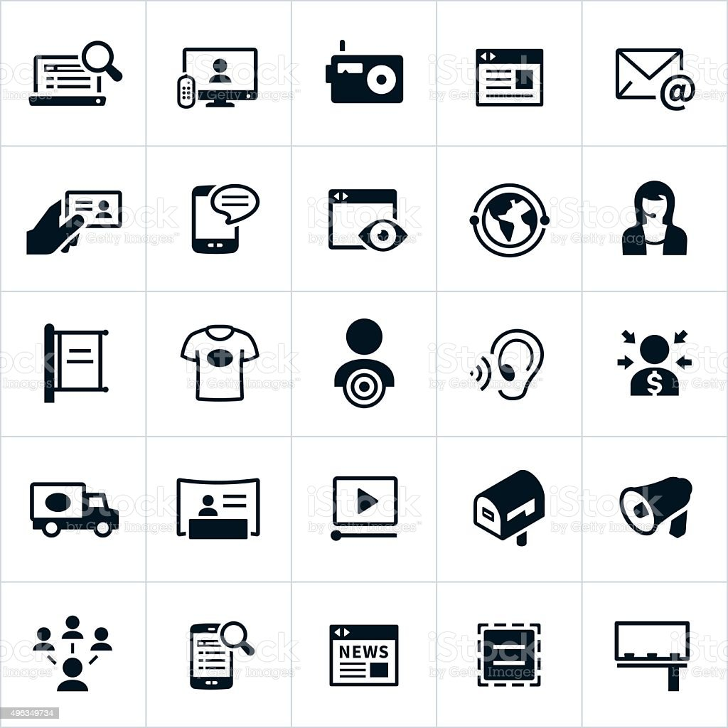 Advertising Methods Icons vector art illustration