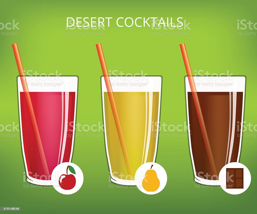 advertising poster with fruit cocktails, chocolate and straw to drink vector art illustration