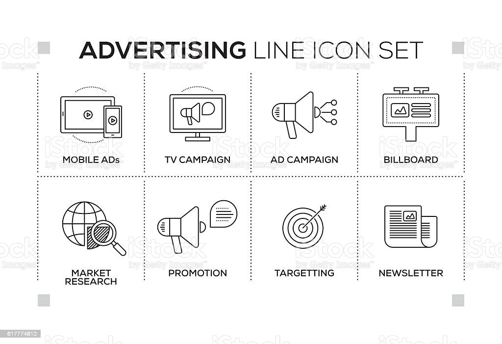 Advertising & Promo keywords with monochrome line icons vector art illustration