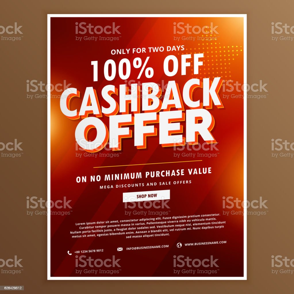 advertising promotional cashback offer design template vector art illustration