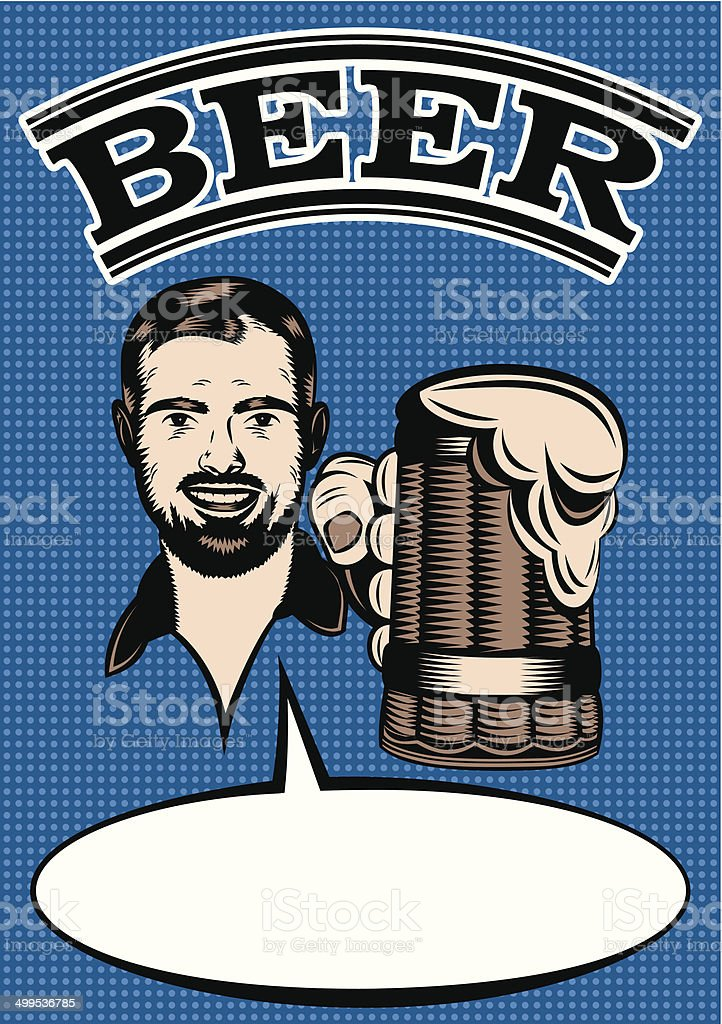 advertising retro poster with men and glass of beer royalty-free stock vector art