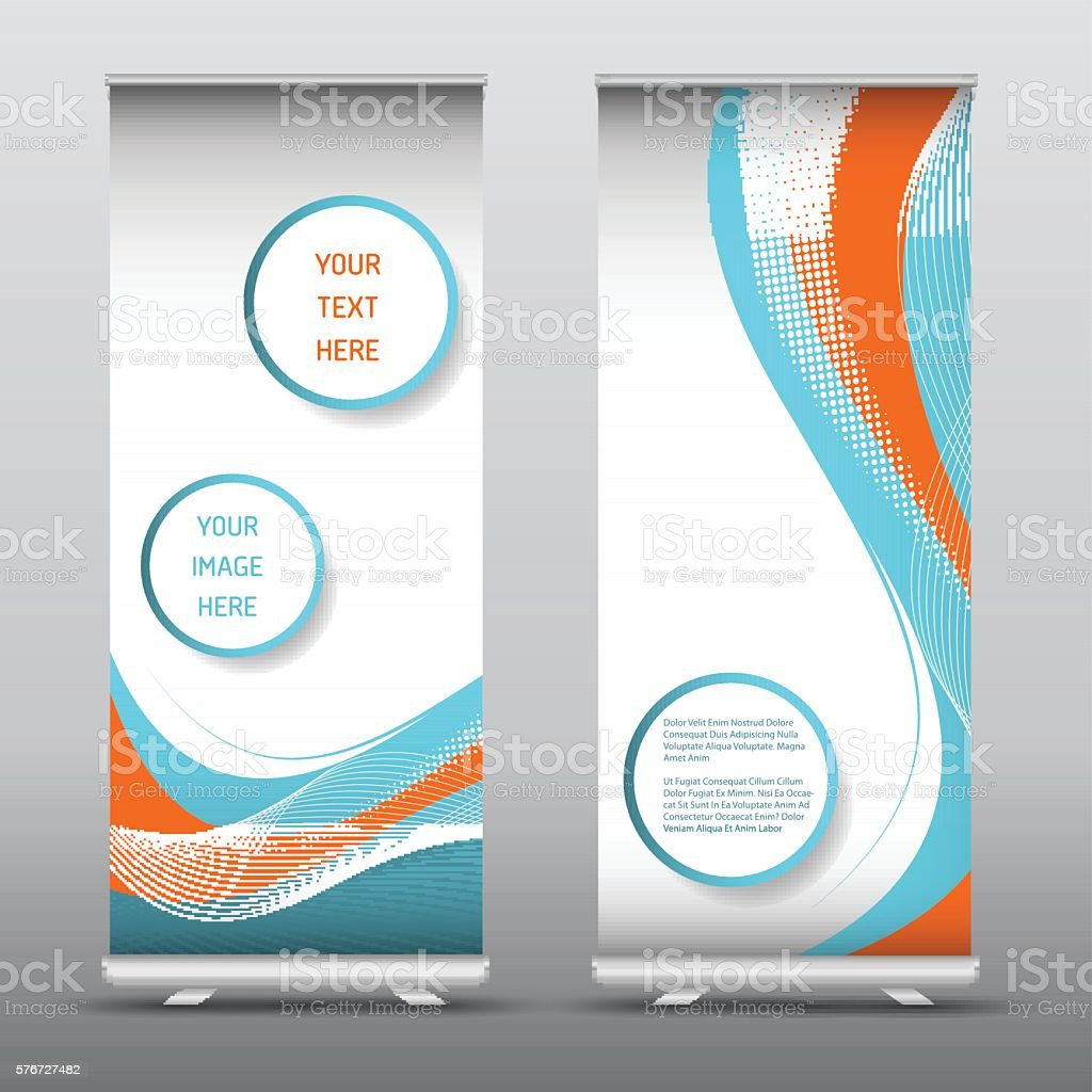 Advertising roll up banners with abstract design vector art illustration