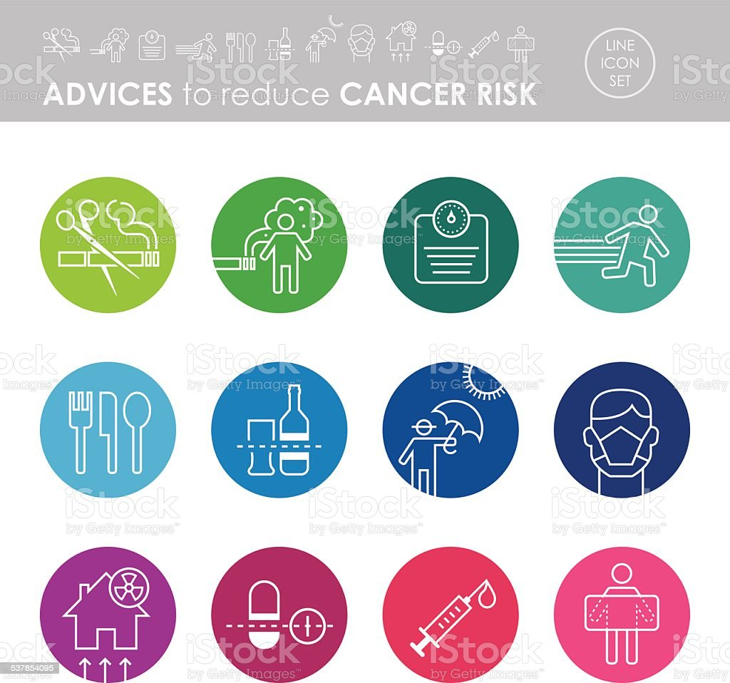 Advices To Reduce Cancer Risk Icon Set vector art illustration
