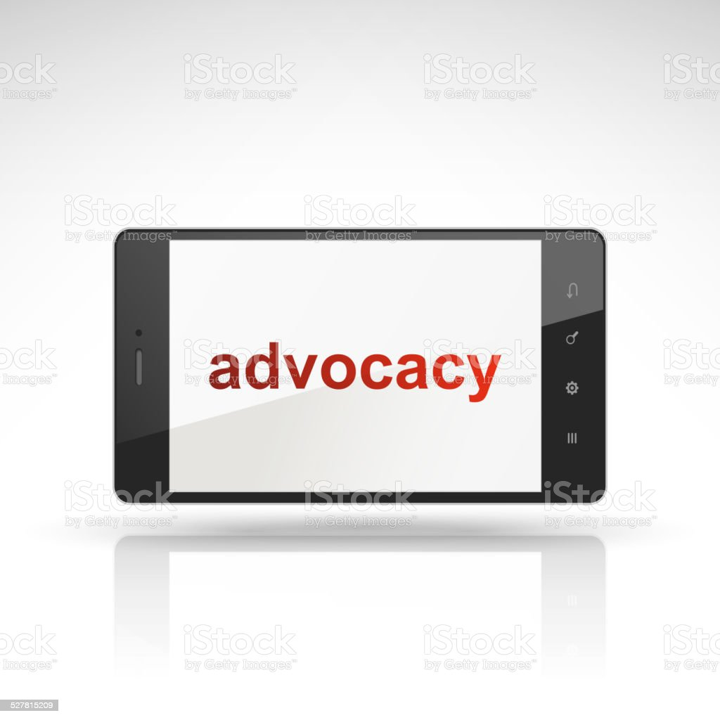 advocacy word on mobile phone vector art illustration
