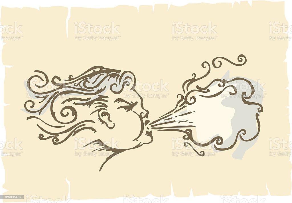 aeolus - wind god vector art illustration