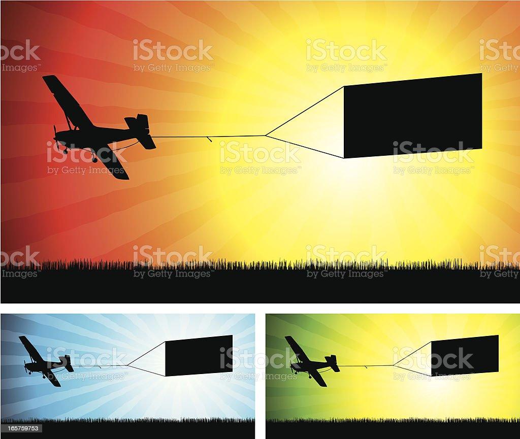 Aerial advertising silouhette vector art illustration