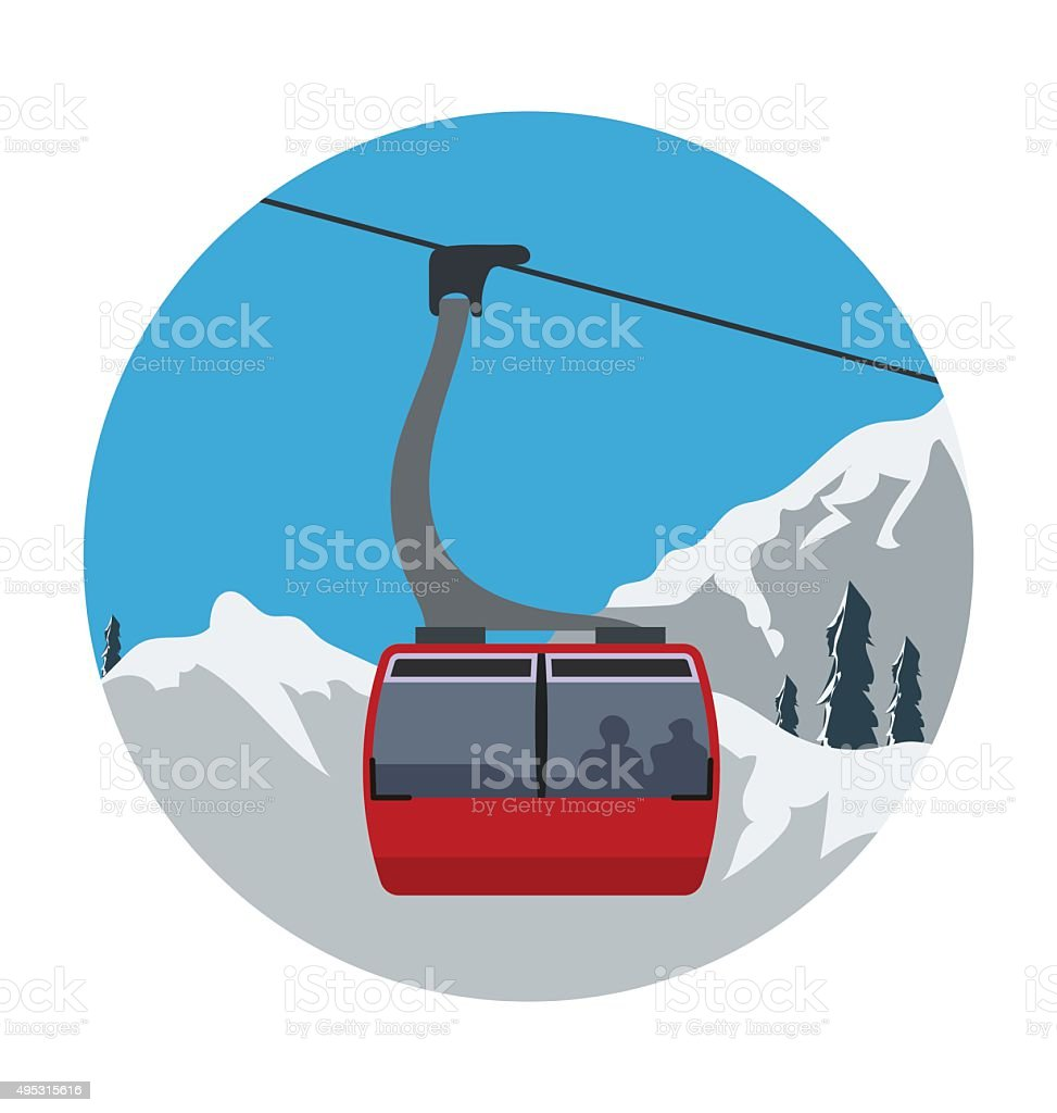 Aerial Lift Colored Vector Icon vector art illustration