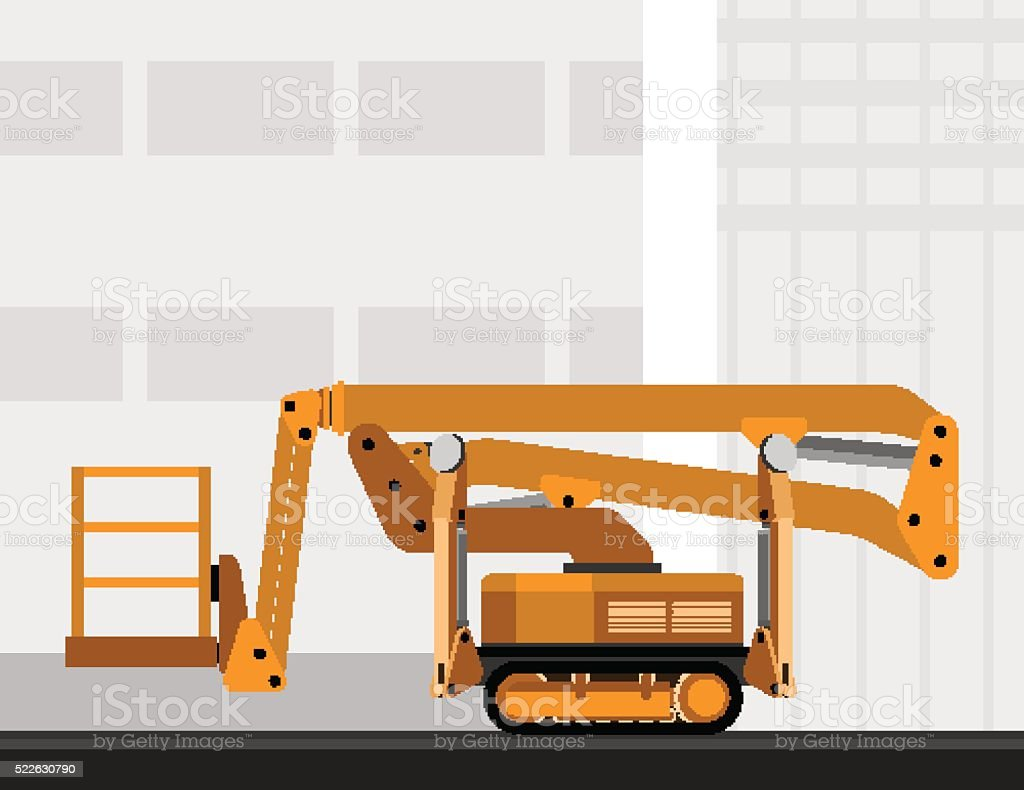 Aerial man crawler lift crane vector art illustration