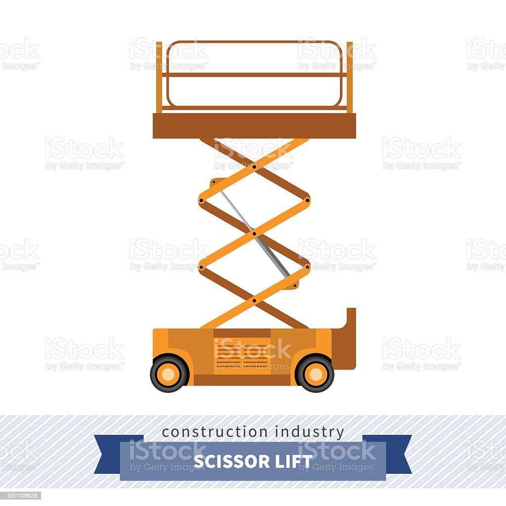 Aerial man scissor lift crane vector art illustration