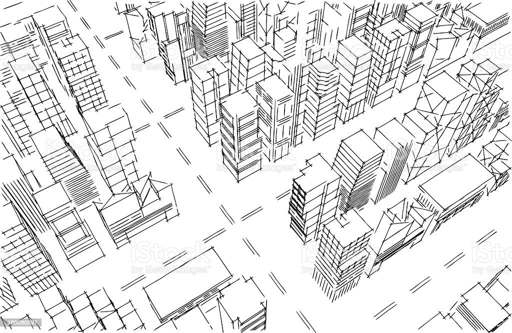 Aerial pencil sketch of city and streets vector art illustration