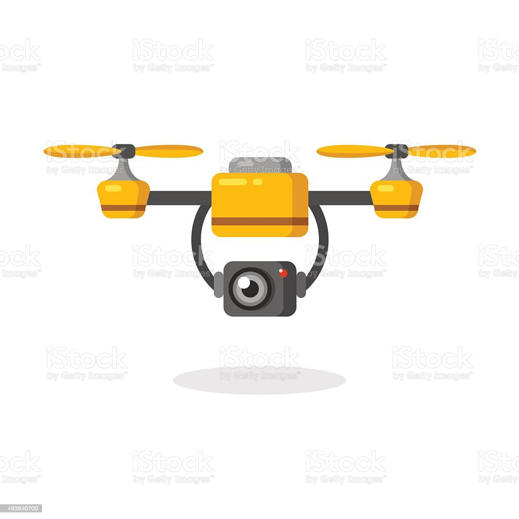 Aerial photography drone vector art illustration