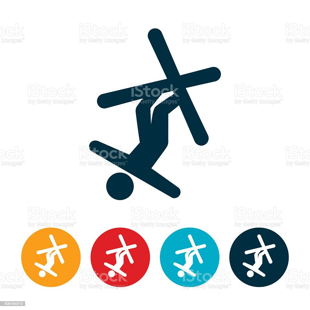 Aerial Skiing Icon vector art illustration