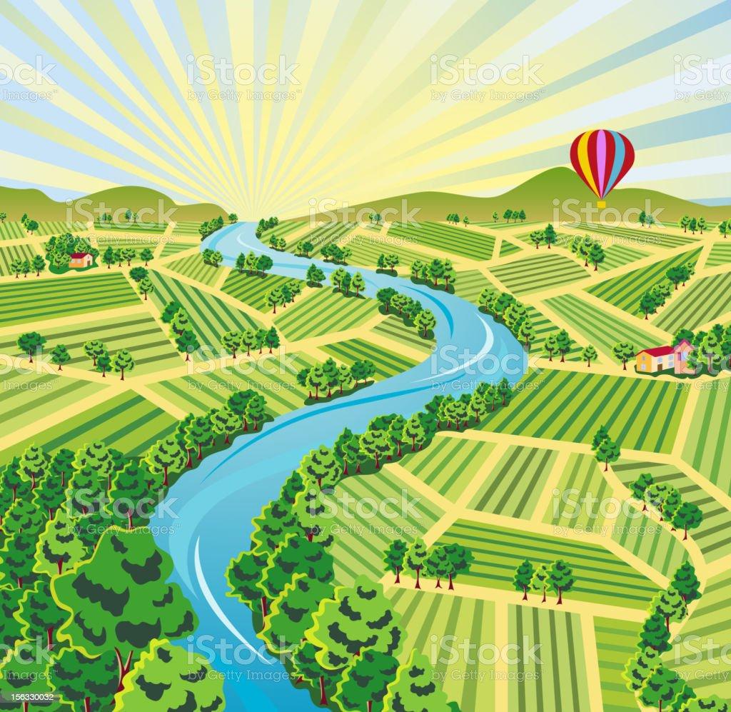 Aerial Sunrise Farmland View royalty-free stock vector art