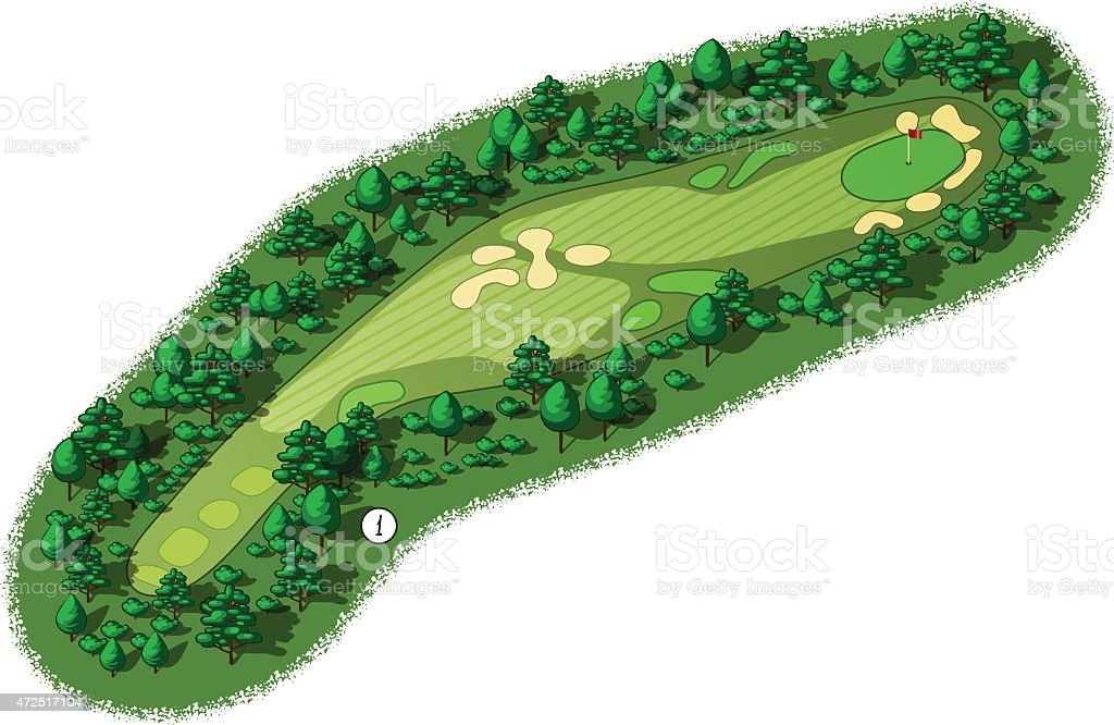 Aerial view of a vector golf course vector art illustration